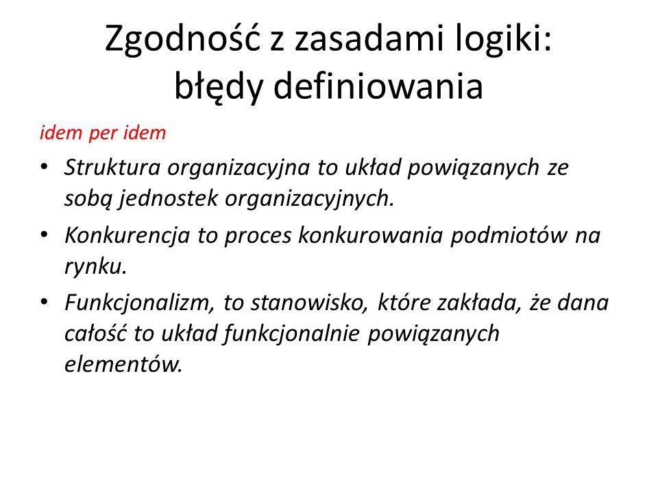Zgodność z zasadami logiki: błędy definiowania idem per idem Struktura organizacyjna to układ powiązanych ze sobą jednostek organizacyjnych. Konkurenc