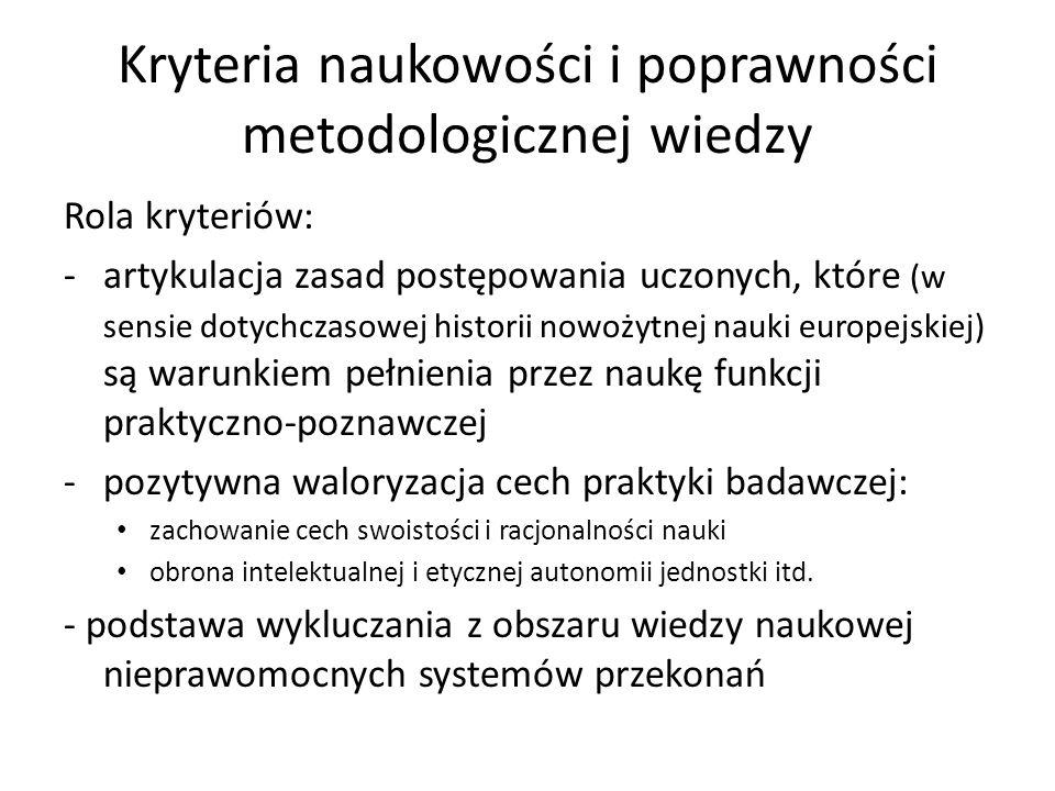 Kryteria naukowości i poprawności metodologicznej wiedzy Rola kryteriów: -artykulacja zasad postępowania uczonych, które (w sensie dotychczasowej hist