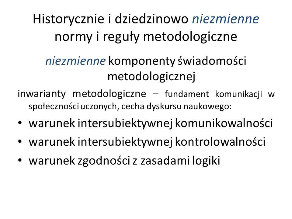 Historycznie i dziedzinowo niezmienne normy i reguły metodologiczne niezmienne komponenty świadomości metodologicznej inwarianty metodologiczne – fund