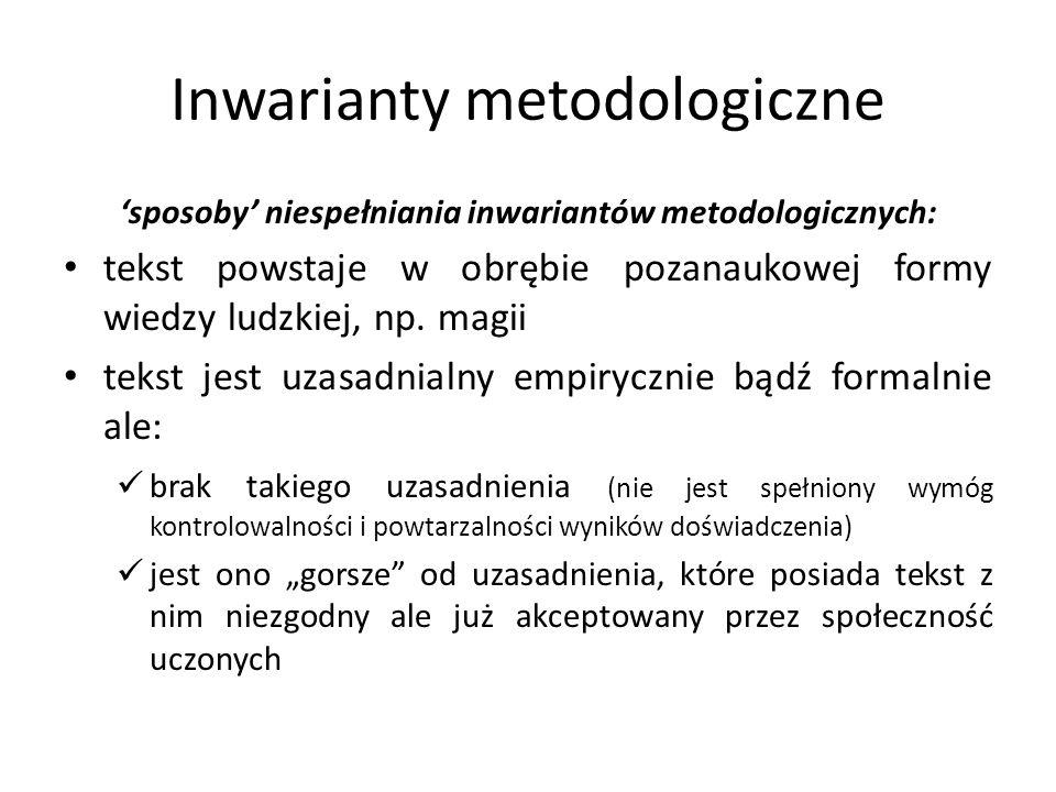 Inwarianty metodologiczne sposoby niespełniania inwariantów metodologicznych: tekst powstaje w obrębie pozanaukowej formy wiedzy ludzkiej, np. magii t