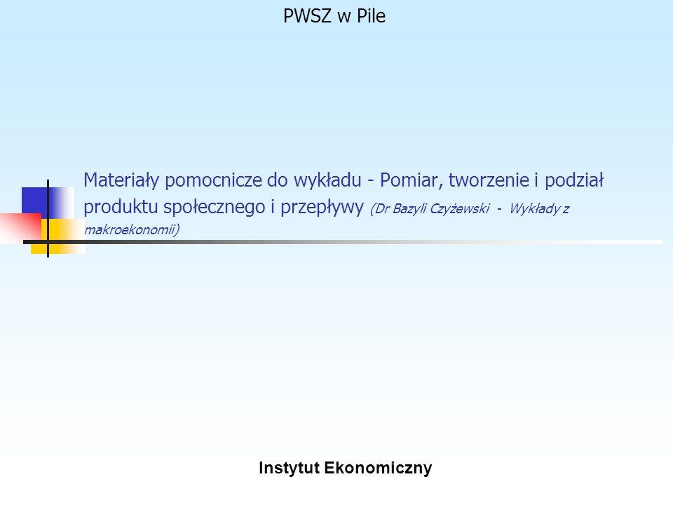 PWSZ w Pile Materiały pomocnicze do wykładu - Pomiar, tworzenie i podział produktu społecznego i przepływy (Dr Bazyli Czyżewski - Wykłady z makroekono