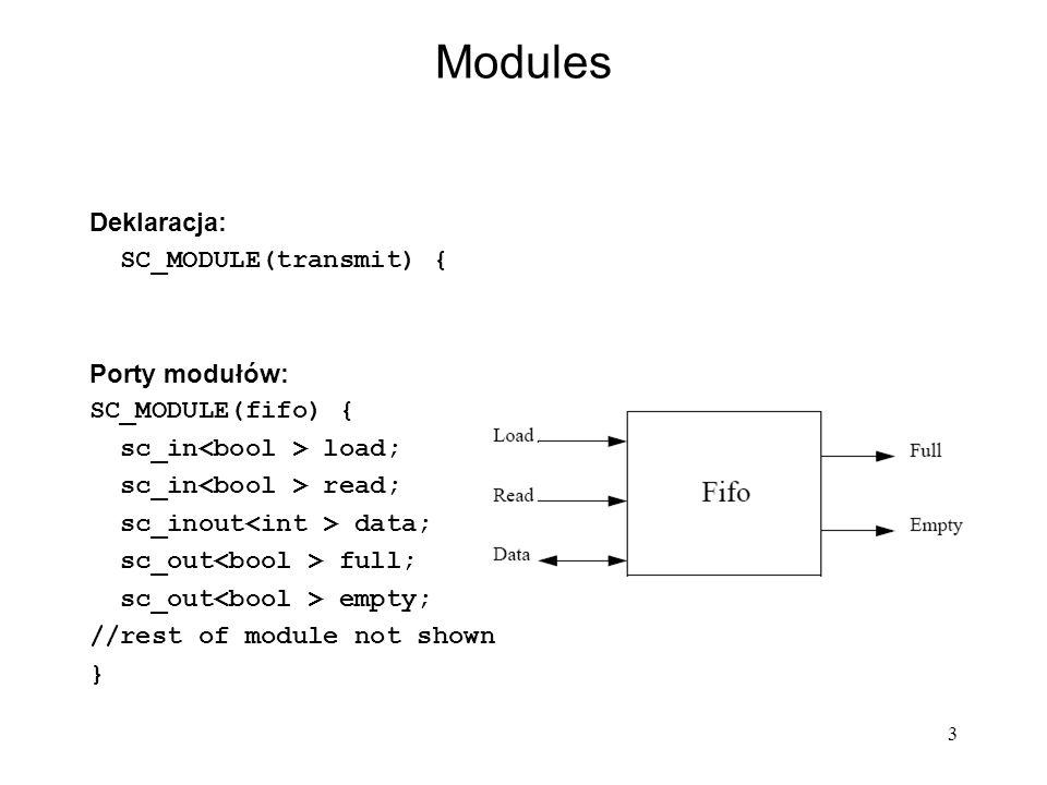 4 Modules - constructors SC_CTOR(module_name) : Initialization // OPTIONAL { Subdesign_Allocation Subdesign_Connectivity Process_Registration Miscellaneous_Setup } Constructor tasks: Memory allocation and initialization of descendant modules.