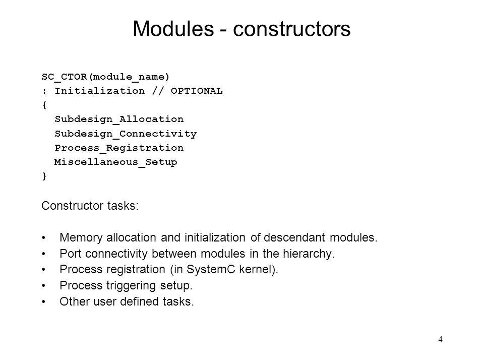 15 SC_THREAD - zdarzenia Sposób generowania zdarzeń (event): event_name.notify(); // immediate notification event_name.notify(SC_ZERO_TIME) ; // next delta-cycle notification event_name.notify(time); // timed notification Przykład modułu z procesem SC_THREAD: SC_MODULE(simple_example) { SC_CTOR(simple_example) { SC_THREAD(my_process); } void my_process(void); }; Przykład uruchomienia symulatora: int sc_main(int argc, char* argv[]) { // args unused simple_example my_instance( my_instance ); sc_start(10,SC_SEC); // sc_start(); // forever return 0; // simulation return code }