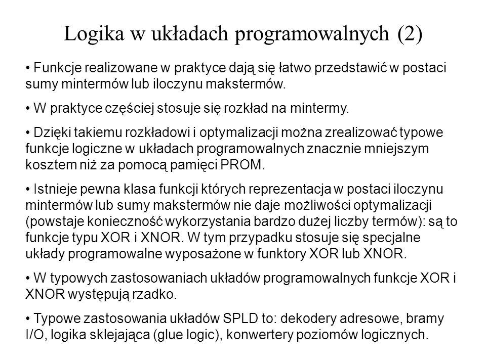Logika w układach programowalnych (2) Funkcje realizowane w praktyce dają się łatwo przedstawić w postaci sumy mintermów lub iloczynu makstermów. W pr