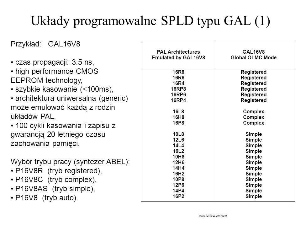 Układy programowalne SPLD typu GAL (1) Przykład: GAL16V8 czas propagacji: 3.5 ns, high performance CMOS EEPROM technology, szybkie kasowanie (<100ms),