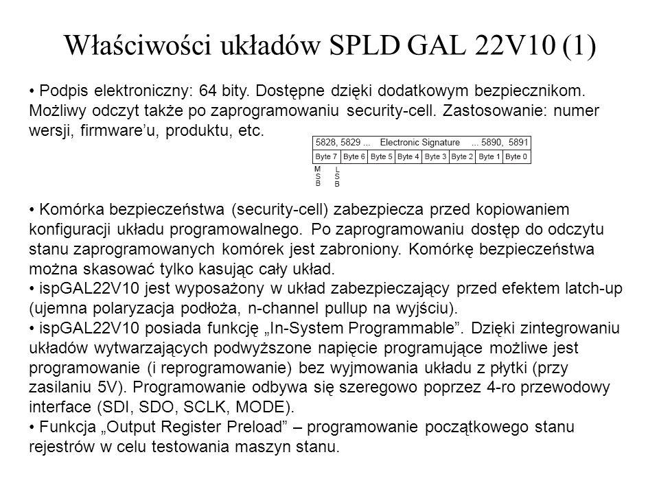 Właściwości układów SPLD GAL 22V10 (1) Podpis elektroniczny: 64 bity. Dostępne dzięki dodatkowym bezpiecznikom. Możliwy odczyt także po zaprogramowani