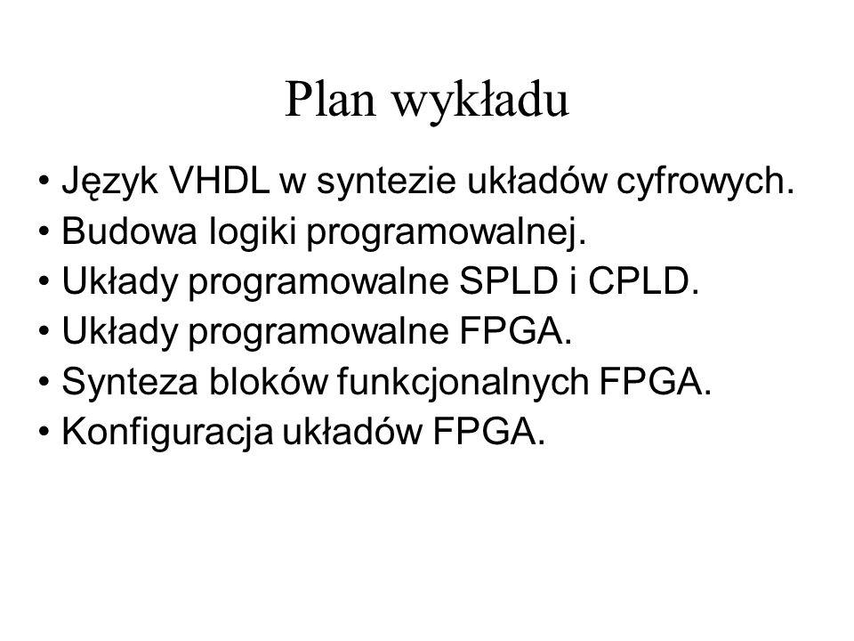 Plan wykładu Język VHDL w syntezie układów cyfrowych. Budowa logiki programowalnej. Układy programowalne SPLD i CPLD. Układy programowalne FPGA. Synte