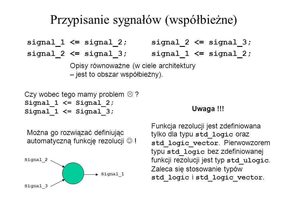 Przypisanie sygnałów (współbieżne) Czy wobec tego mamy problem ? Signal_1 <= Signal_2; Signal_1 <= Signal_3; Opisy równoważne (w ciele architektury –