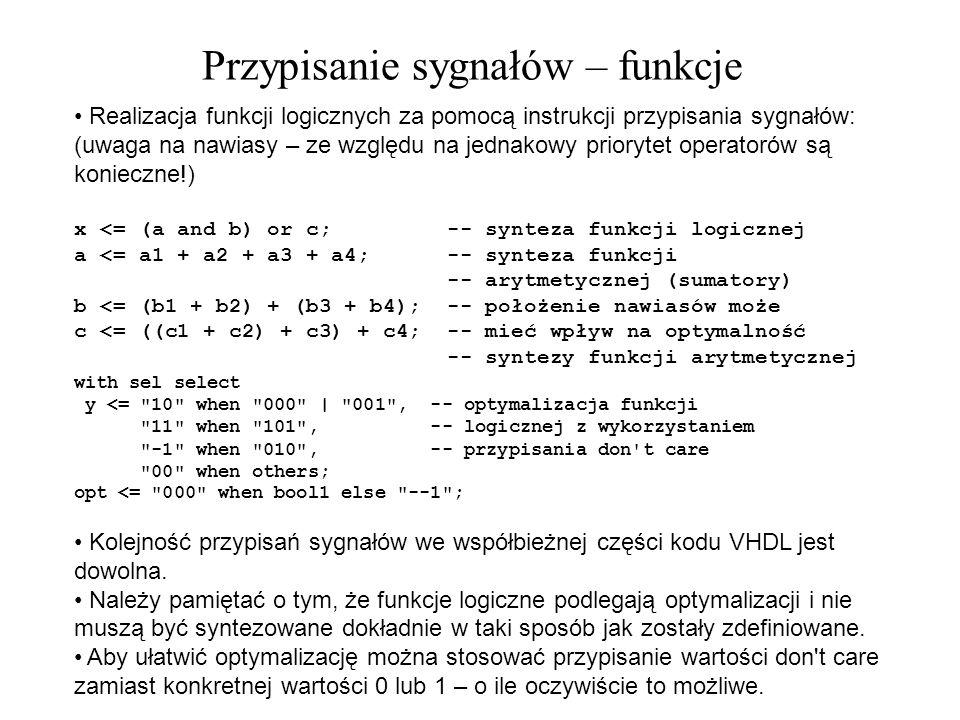 Realizacja funkcji logicznych za pomocą instrukcji przypisania sygnałów: (uwaga na nawiasy – ze względu na jednakowy priorytet operatorów są konieczne