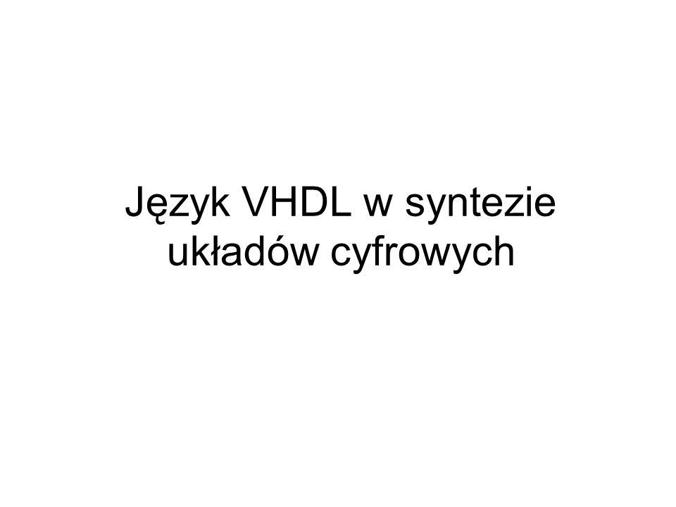 Geneza języka VHDL Very High Speed Integrated Circuit Hardware Description Language.