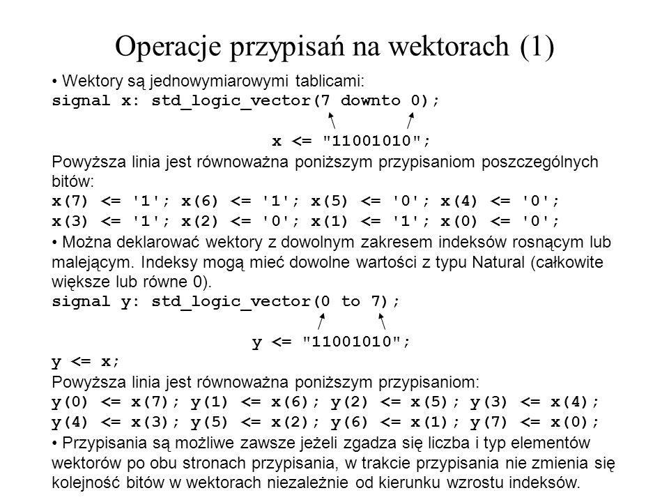 Wektory są jednowymiarowymi tablicami: signal x: std_logic_vector(7 downto 0); x <=
