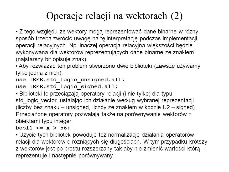 Z tego względu że wektory mogą reprezentować dane binarne w różny sposób trzeba zwrócić uwagę na tę interpretację podczas implementacji operacji relac