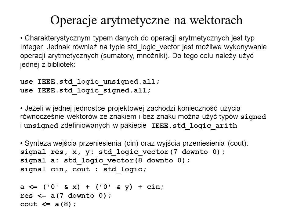 Charakterystycznym typem danych do operacji arytmetycznych jest typ Integer. Jednak również na typie std_logic_vector jest możliwe wykonywanie operacj