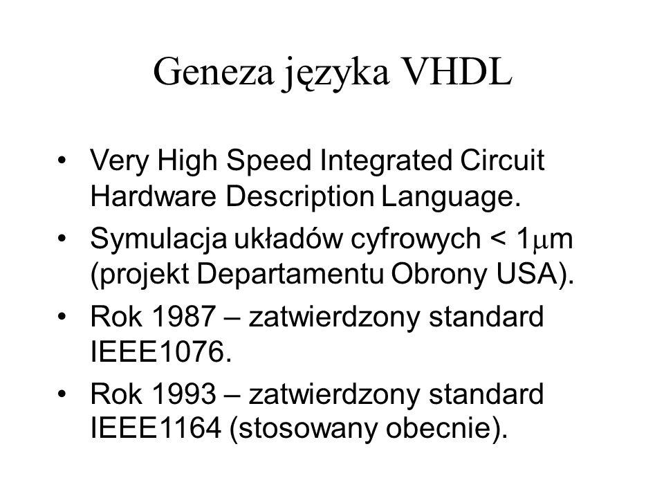 Symulacja projektu – testbench (1) Przykładowy TESTBENCH (wzorzec jest zazwyczaj generowany automatycznie): LIBRARY ieee; USE ieee.std_logic_1164.ALL; USE ieee.std_logic_unsigned.all; USE ieee.numeric_std.ALL; ENTITY fpgalab1_tb_vhd IS END fpgalab1_tb_vhd; ARCHITECTURE behavior OF fpgalab1_tb_vhd IS -- Component Declaration for the Unit Under Test (UUT) COMPONENT projekt1 PORT( clk : IN std_logic; reset : IN std_logic; sw0 : IN std_logic; sw1 : IN std_logic; sw2 : IN std_logic; sw3 : IN std_logic; an : OUT std_logic_vector(3 downto 0); seg : OUT std_logic_vector(7 downto 0); ld0 : OUT std_logic; ld1 : OUT std_logic ); END COMPONENT; Testbench sam generuje i testuje wszystkie sygnały więc końcówki nie występują.
