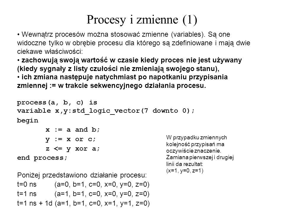 Wewnątrz procesów można stosować zmienne (variables). Są one widoczne tylko w obrębie procesu dla którego są zdefiniowane i mają dwie ciekawe właściwo