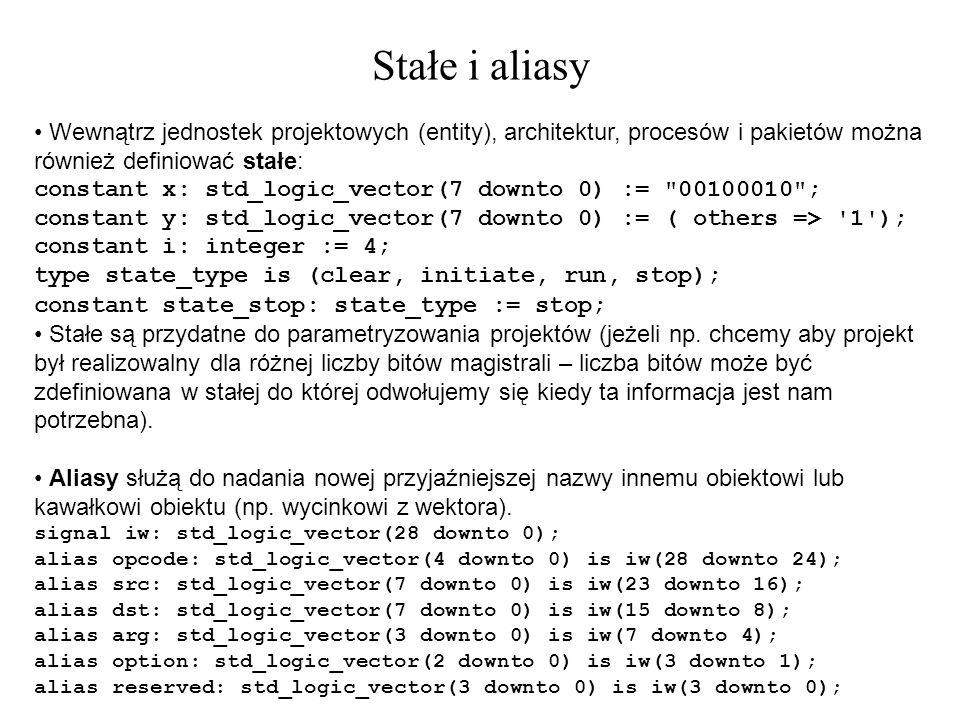 Wewnątrz jednostek projektowych (entity), architektur, procesów i pakietów można również definiować stałe: constant x: std_logic_vector(7 downto 0) :=