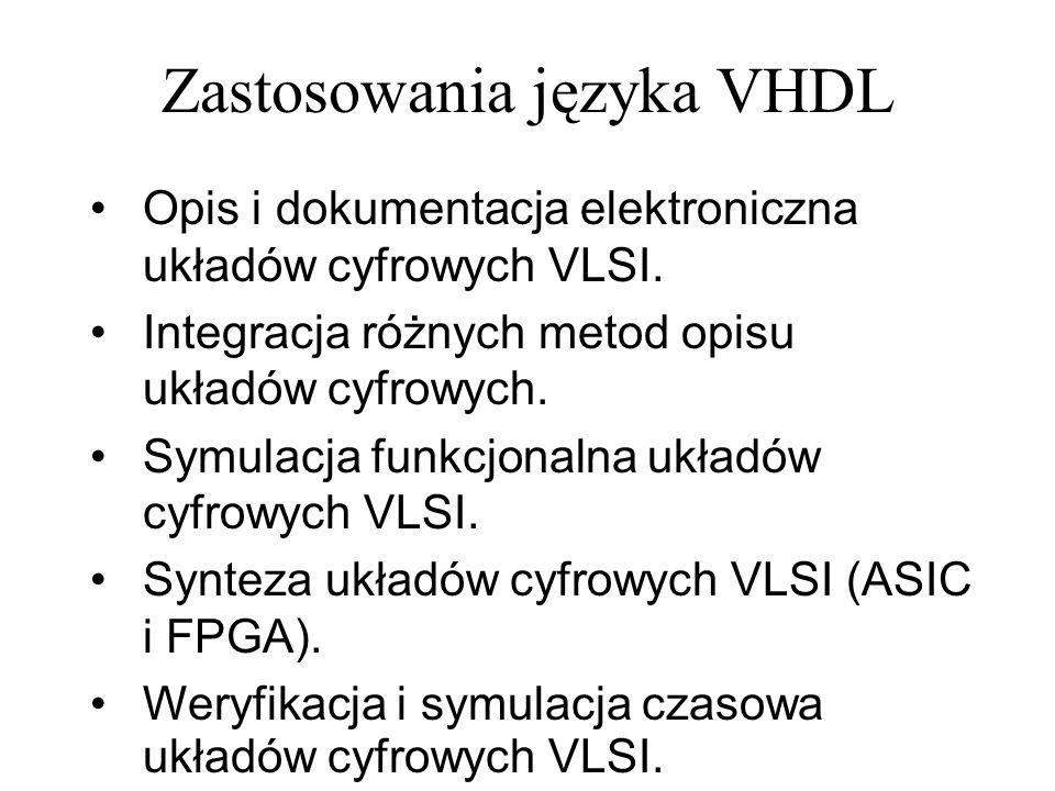 Symulacja projektu – testbench (2) SIGNAL sw0 : std_logic := 0 ; SIGNAL sw1 : std_logic := 0 ; SIGNAL tst : std_logic := 1 ; SIGNAL trx : std_logic := 1 ; SIGNAL an : std_logic_vector(3 downto 0); SIGNAL seg : std_logic_vector(7 downto 0); SIGNAL ld0 : std_logic; SIGNAL ld1 : std_logic; signal clk : std_logic := 0 ; signal clk_p : std_logic := 0 ; signal clk_n : std_logic := 1 ; constant PERIOD : time := 10 ns; constant DUTY_CYCLE : real := 0.25; signal reset : std_logic := 1 ; BEGIN -- Instantiate the Unit Under Test (UUT) uut: projekt1 PORT MAP( clk => clk, reset => reset, sw0 => sw0, sw1 => sw1, sw2 => tst, sw3 => trx, an => an, seg => seg, ld0 => ld0, ld1 => ld1 ); Definicje sygnałów używanych do testowania komponentu – podawanych na jego końcówki (sygnały podawane na wejścia UUT powinno się zainicjować wartością początkową).