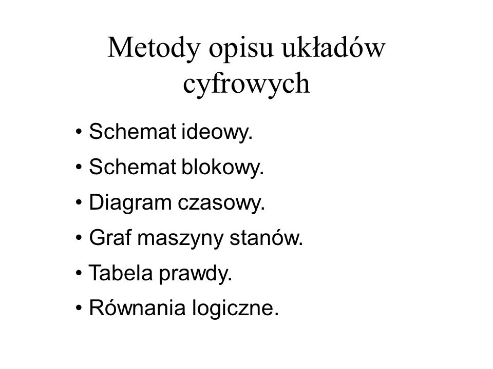Maszyny stanów (6) -- przykład maszyny stanów -- Mealyego z wyjściem -- synchronicznym -- w jednym procesie type StateType is (idle, operate, finish); signal fsm_state : StateType; sync_mealy: process (reset, clk) is begin if reset = 1 then fsm_state <= idle; power <= 0 ; direction <= 0 ; elsif rising_edge(clk) then case fsm_state is when idle => if (go = 1 ) then fsm_state <= operate; power <= 1 ; end if; when operate => if (brk = 1 ) then fsm_state <= idle; power <= 0 ; elsif (cln = 1 ) then fsm_state <= finish; direction <= 1 ; end if; when finish => if (rdy = 1 ) then fsm_state <= idle; power <= 0 ; direction <= 0 ; end if; end case; end process sync_mealy;