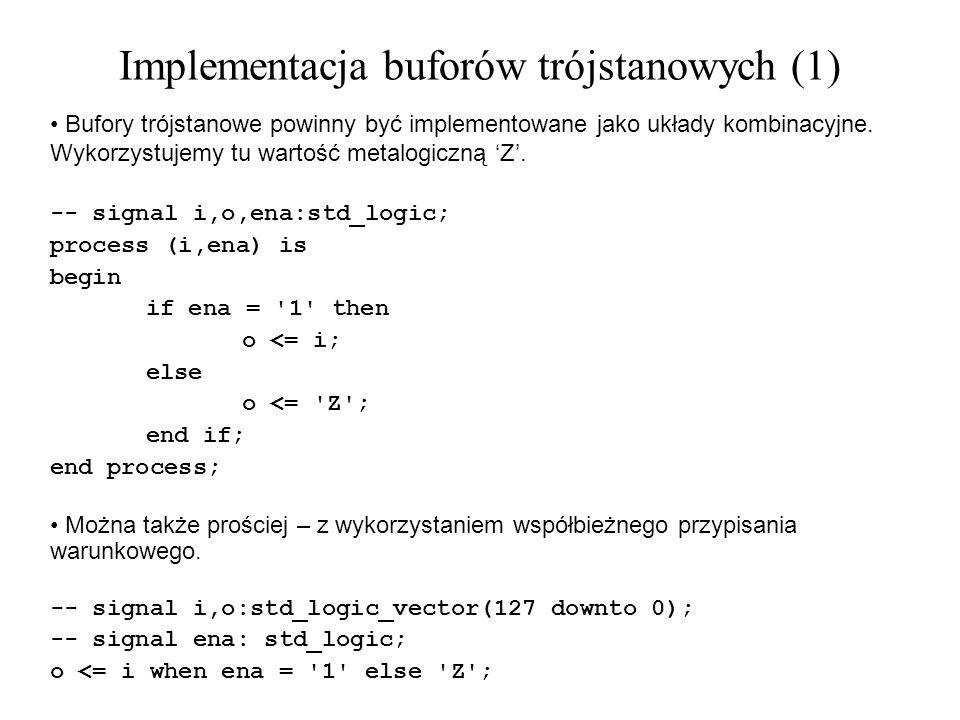 Bufory trójstanowe powinny być implementowane jako układy kombinacyjne. Wykorzystujemy tu wartość metalogiczną Z. -- signal i,o,ena:std_logic; process