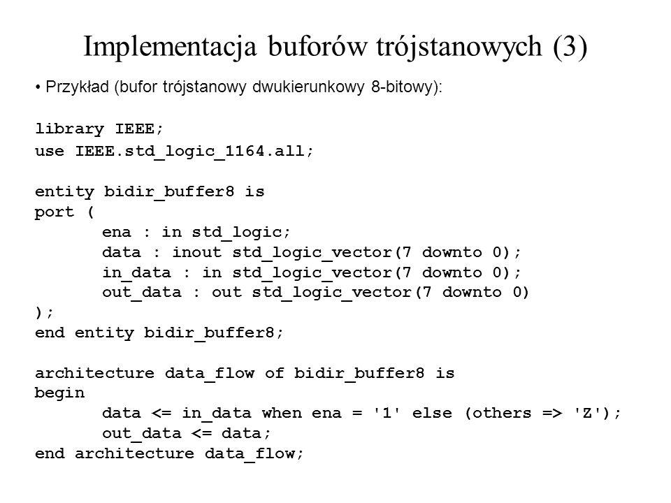 Przykład (bufor trójstanowy dwukierunkowy 8-bitowy): library IEEE; use IEEE.std_logic_1164.all; entity bidir_buffer8 is port ( ena : in std_logic; dat