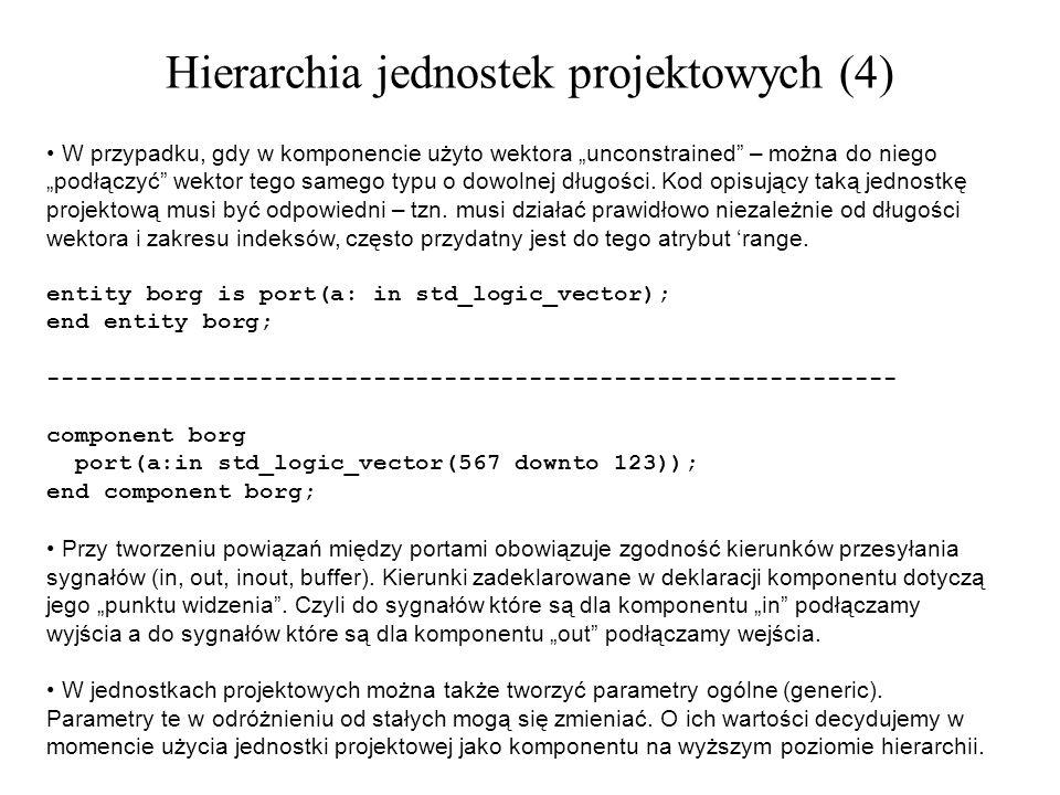 W przypadku, gdy w komponencie użyto wektora unconstrained – można do niego podłączyć wektor tego samego typu o dowolnej długości. Kod opisujący taką