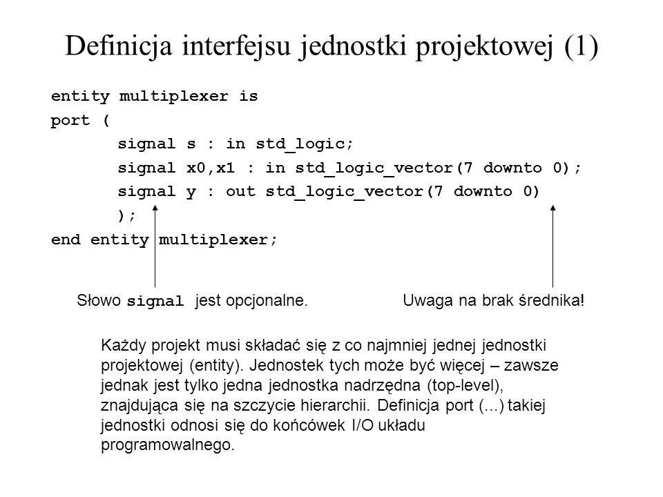 Inferred macros in VHDL (1) -- synteza SRL16 library ieee; use ieee.std_logic_1164.all; entity shift is port( C, SI : in std_logic; SO : out std_logic ); end shift; architecture archi of shift is signal tmp: std_logic_vector(7 downto 0); begin process (C) begin if (Cevent and C=1) then for i in 0 to 6 loop tmp(i+1) <= tmp(i); end loop; tmp(0) <= SI; end if; end process; SO <= tmp(7); end archi;...