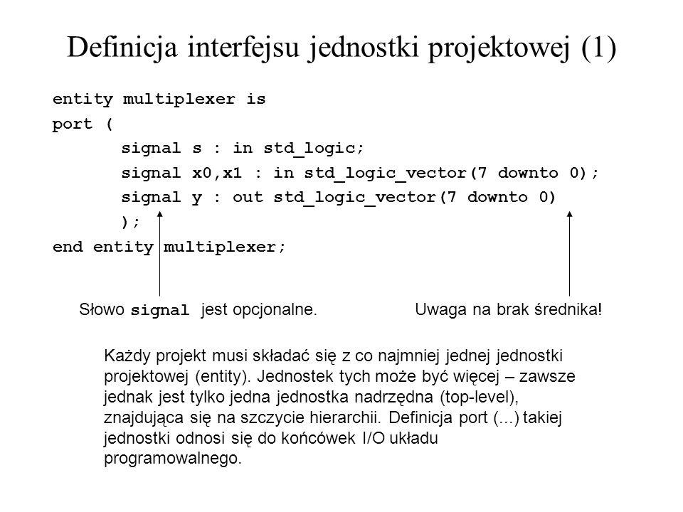 Funkcje (3) -- Przykład funkcji realizującej dekoder 7-segmentowy LED: function seven_seg(data_in: std_logic_vector(3 downto 0)) return std_logic_vector is variable tmp : std_logic_vector(6 downto 0); begin -- 0 -- --- -- 5 | | 1 -- --- <- 6 -- 4 | | 2 -- --- -- 3 case data_in is when 0001 => tmp := 1111001 ; --1 when 0010 => tmp := 0100100 ; --2 when 0011 => tmp := 0110000 ; --3 when 0100 => tmp := 0011001 ; --4 when 0101 => tmp := 0010010 ; --5 when 0110 => tmp := 0000010 ; --6 when 0111 => tmp := 1111000 ; --7 when 1000 => tmp := 0000000 ; --8 when 1001 => tmp := 0010000 ; --9 when 1010 => tmp := 0001000 ; --A when 1011 => tmp := 0000011 ; --b when 1100 => tmp := 1000110 ; --C when 1101 => tmp := 0100001 ; --d when 1110 => tmp := 0000110 ; --E when 1111 => tmp := 0001110 ; --F when others => tmp := 1000000 ; --0 end case; return (tmp); end function seven_seg;
