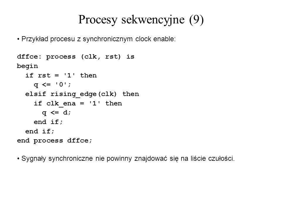Przykład procesu z synchronicznym clock enable: dffce: process (clk, rst) is begin if rst = '1' then q <= '0'; elsif rising_edge(clk) then if clk_ena