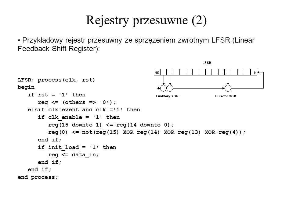 Przykładowy rejestr przesuwny ze sprzężeniem zwrotnym LFSR (Linear Feedback Shift Register): LFSR: process(clk, rst) begin if rst = '1' then reg '0');
