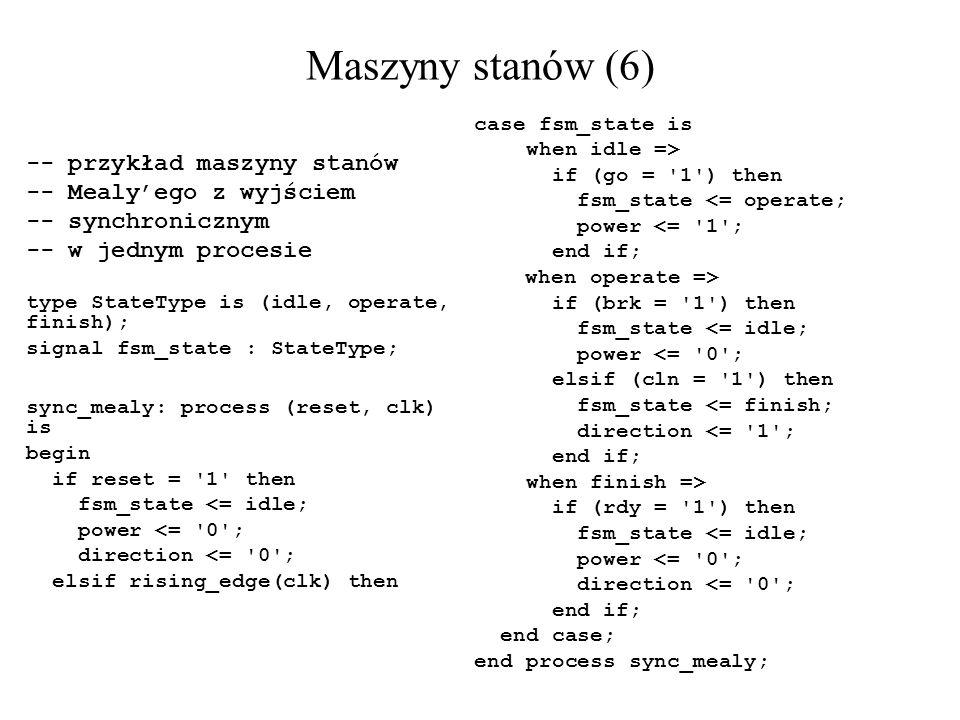 Maszyny stanów (6) -- przykład maszyny stanów -- Mealyego z wyjściem -- synchronicznym -- w jednym procesie type StateType is (idle, operate, finish);