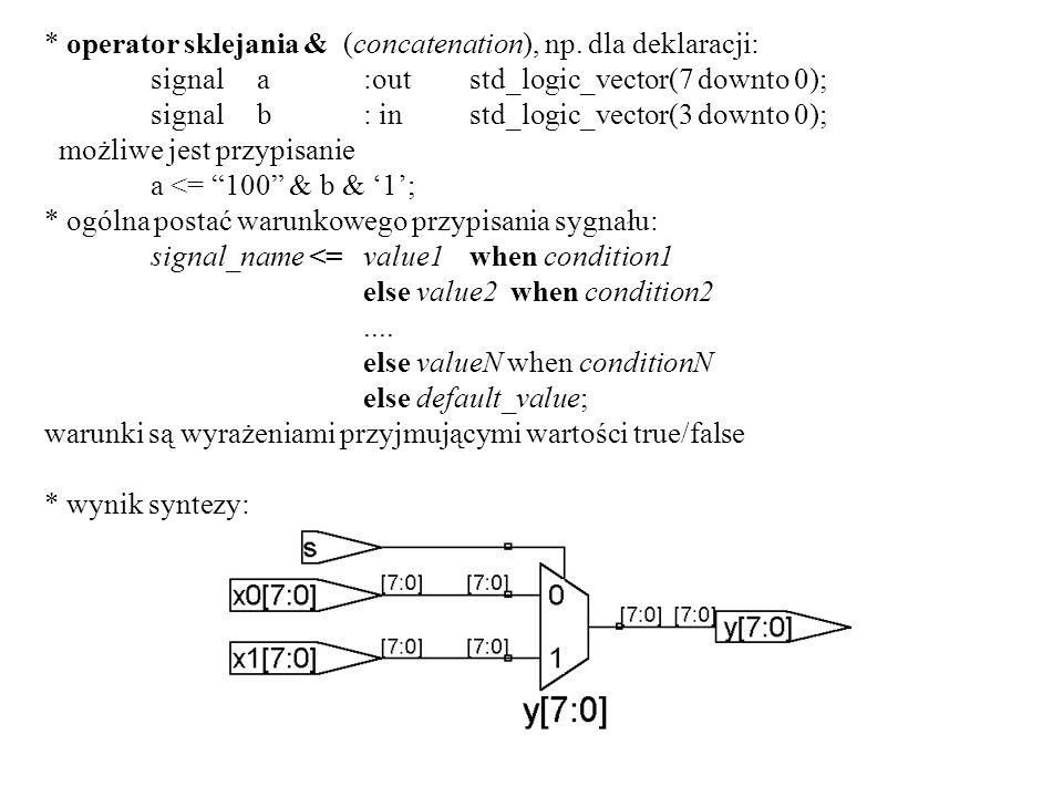 * operator sklejania & (concatenation), np. dla deklaracji: signala:outstd_logic_vector(7 downto 0); signalb: instd_logic_vector(3 downto 0); możliwe