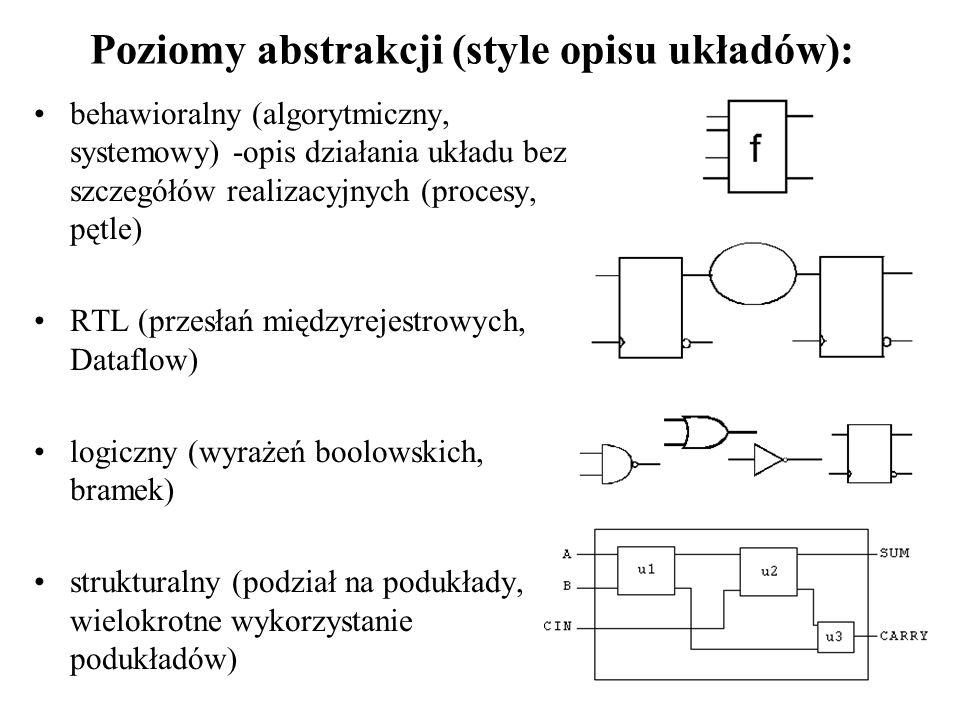 * sygnał s (port wejściowy) nie może być bezpośrednio użyty w operacjach logicznych z sygnałami x0 i x1 ze względu na różny typ (std_logic, std_logic_vector) * zadeklarowano sygnał wewnętrzny -wektor/magistralę; deklaracje sygnałów umieszcza się zawsze przed słowem kluczowym begin * w deklaracji sygnału wewnętrznego nie określa się trybu (in, out, inout) * typ sygnału temp jest zgodny z x0 i x1 (ta sama szerokość wektora!!!) * każdemu bitowi wektora temp przypisano stan portu wejściowego s temp s);--najprostszy zapis (aggregate) temp s); temp s, 7=>s, 2=>s, 5=>s, 3=>s, 1=>s, 6=>s, 0=>s); temp<= s & s & s & s & s & s & s & s; temp(0)<=s; temp(1)<=s;.....
