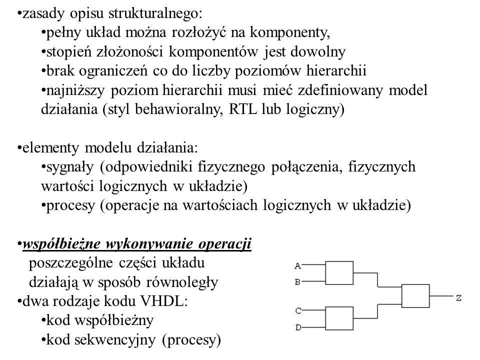 automaty/maszyny stanów (FSM -Finite State Machine) * złożony układ cyfrowy, który na podstawie własnego stanu bieżącego oraz stanu wejść przechodzi do stanu następnego; przejście to jest reakcją na zbocze zegara * automat jawny => liczba stanów jest znana, każdy stan jest nazwany, rejestry przechowują zakodowaną reprezentację stanu * opis automatów zawiera sekcję kombinacyjną i sekcję synchroniczną * automat Moorea: wyjścia automatu są jedynie funkcją stanu, logika kombinacyjna służy do generowania sygnałów wyjściowych na podstawie stanu automatu, oraz do określenia wejść przerzutników na podstawie stanu automatu i wejść do układu * automat Mealyego: zarówno następny stan jak i wektor wyjść są funkcjami bieżącego stanu automatu oraz wektora wejść; automat Mealyego synchroniczny wyposażony jest w przerzutniki wyjściowe, automat asynchroniczny natychmiast reaguje na zmianę sygnałów wejściowych * kodowanie stanów: -użycie typu wyliczeniowegotype state is (st0, st1, st2, st3, st4); signal present_state, next_state: state; -użycie stałych subtype state is std_logic_vector(3 downto 0); constant st0: state:=0010; constant st1: state:=1000;