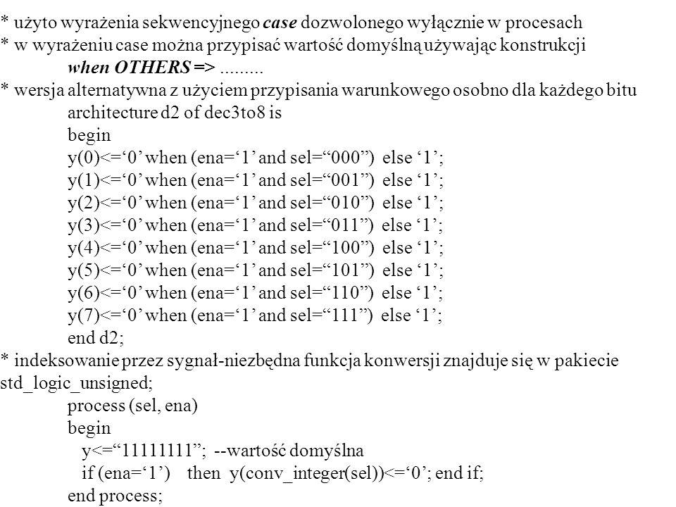 * użyto wyrażenia sekwencyjnego case dozwolonego wyłącznie w procesach * w wyrażeniu case można przypisać wartość domyślną używając konstrukcji when O