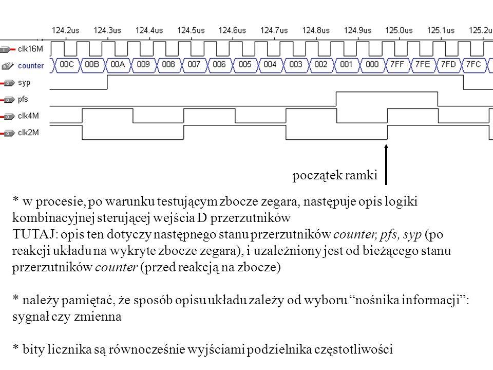 początek ramki * w procesie, po warunku testującym zbocze zegara, następuje opis logiki kombinacyjnej sterującej wejścia D przerzutników TUTAJ: opis t