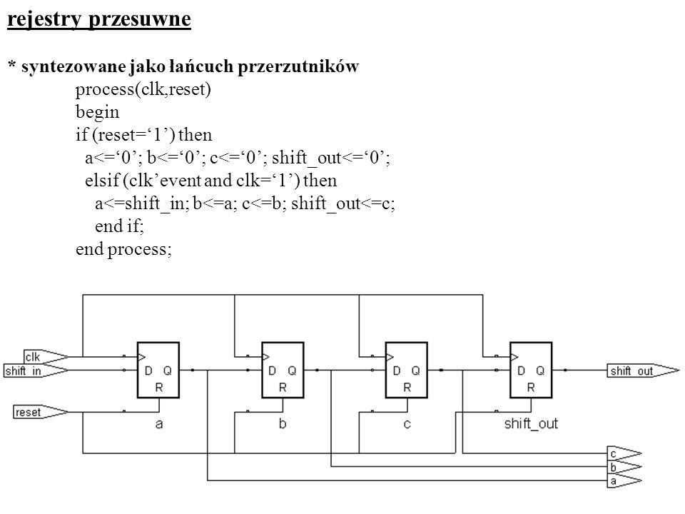 rejestry przesuwne * syntezowane jako łańcuch przerzutników process(clk,reset) begin if (reset=1) then a<=0; b<=0; c<=0; shift_out<=0; elsif (clkevent