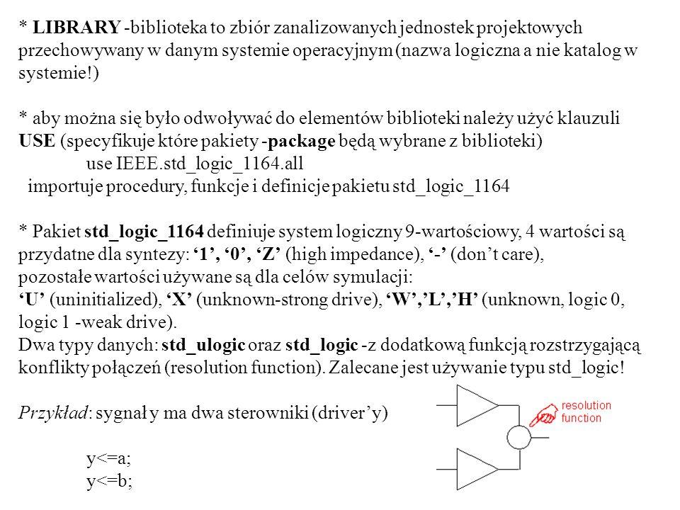 Enkoder priorytetowy entity en_prior is port( x:in std_logic_vector(1 to 7); enc:out std_logic_vector(2 downto 0) ); end en_prior; architecture e1 of en_prior is begin process(x)-- każdy bit wektora x na liście czułości begin if (x(7)=1) then enc<=111; elsif (x(6)=1) then enc<=110; elsif (x(5)=1) then enc<=101; elsif (x(4)=1) then enc<=100; elsif (x(3)=1) then enc<=011; elsif (x(2)=1) then enc<=010; elsif (x(1)=1) then enc<=001; else enc<=000;-- domyślna wartość wyjściowa end if; end process; end e1;
