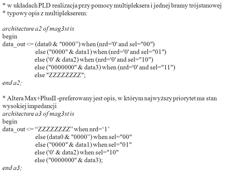 * w układach PLD realizacja przy pomocy multipleksera i jednej bramy trójstanowej * typowy opis z multiplekserem: architecture a2 of mag3st is begin d