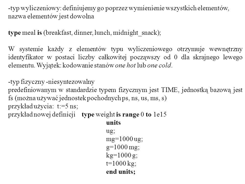 -typ wyliczeniowy: definiujemy go poprzez wymienienie wszystkich elementów, nazwa elementów jest dowolna type meal is (breakfast, dinner, lunch, midni