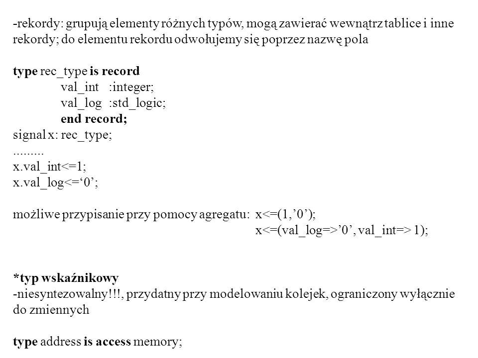 -rekordy: grupują elementy różnych typów, mogą zawierać wewnątrz tablice i inne rekordy; do elementu rekordu odwołujemy się poprzez nazwę pola type re