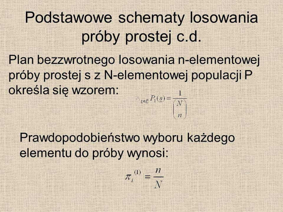Podstawowe schematy losowania próby prostej c.d. Plan bezzwrotnego losowania n-elementowej próby prostej s z N-elementowej populacji P określa się wzo