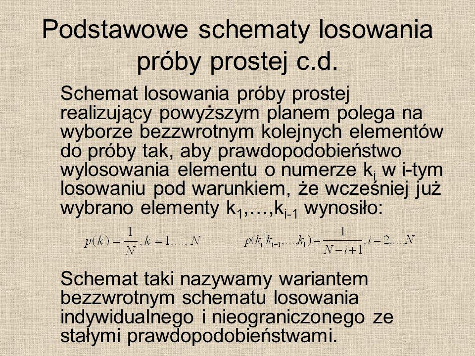 Podstawowe schematy losowania próby prostej c.d. Schemat losowania próby prostej realizujący powyższym planem polega na wyborze bezzwrotnym kolejnych