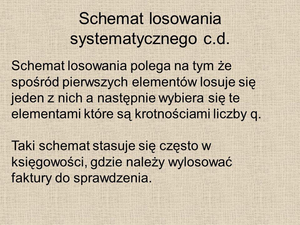 Schemat losowania systematycznego c.d. Schemat losowania polega na tym że spośród pierwszych elementów losuje się jeden z nich a następnie wybiera się
