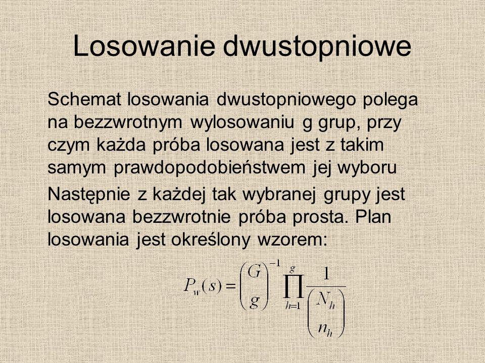 Losowanie dwustopniowe Schemat losowania dwustopniowego polega na bezzwrotnym wylosowaniu g grup, przy czym każda próba losowana jest z takim samym pr