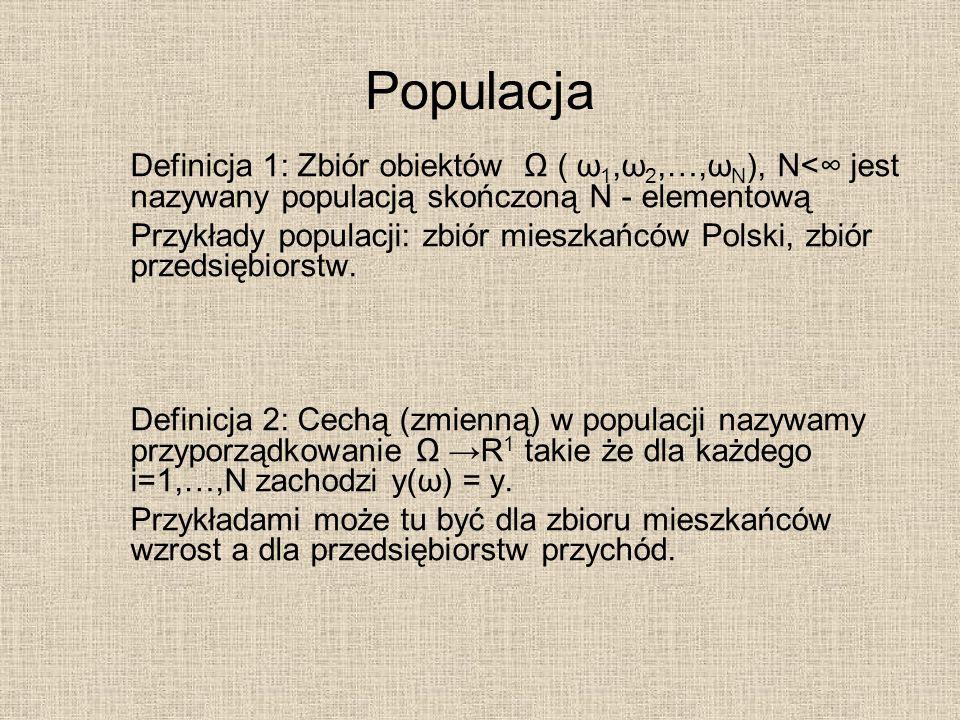 Populacja Definicja 1: Zbiór obiektów ( ω 1,ω 2,…,ω N ), N< jest nazywany populacją skończoną N - elementową Przykłady populacji: zbiór mieszkańców Po