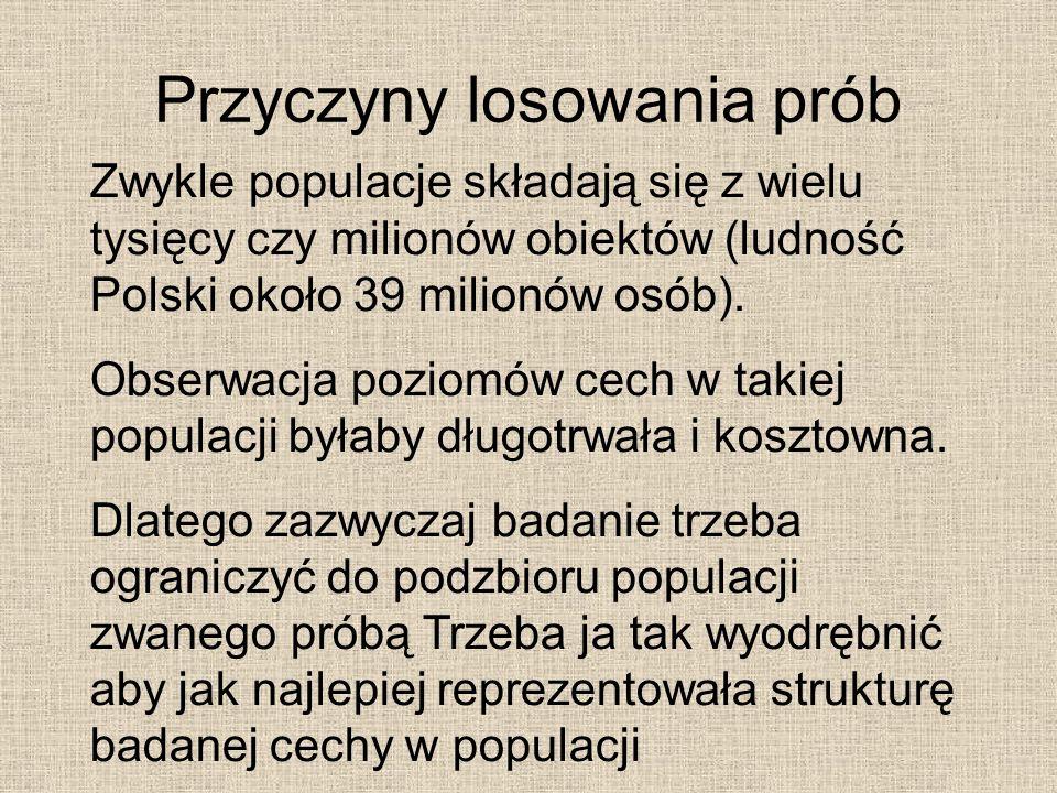 Przyczyny losowania prób Zwykle populacje składają się z wielu tysięcy czy milionów obiektów (ludność Polski około 39 milionów osób). Obserwacja pozio
