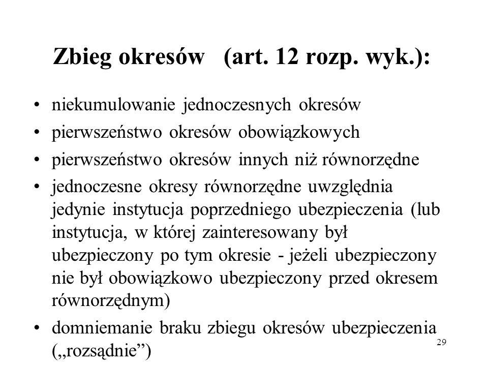 29 Zbieg okresów (art. 12 rozp. wyk.): niekumulowanie jednoczesnych okresów pierwszeństwo okresów obowiązkowych pierwszeństwo okresów innych niż równo