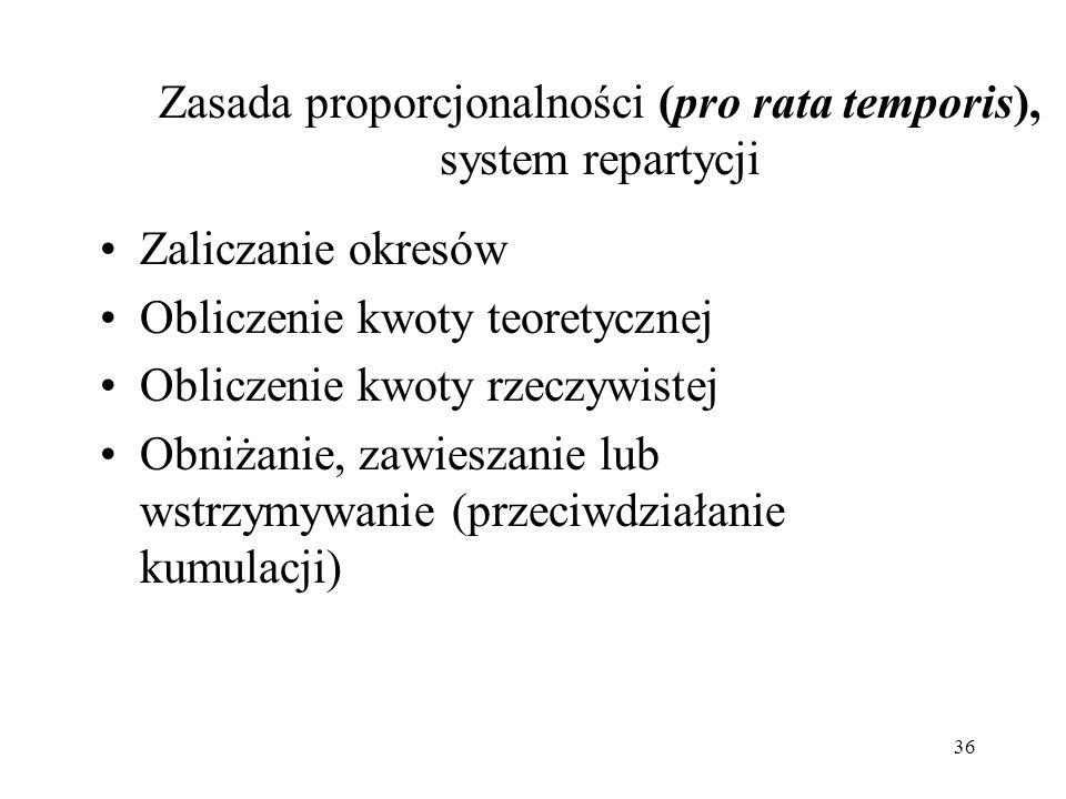 36 Zasada proporcjonalności (pro rata temporis), system repartycji Zaliczanie okresów Obliczenie kwoty teoretycznej Obliczenie kwoty rzeczywistej Obni