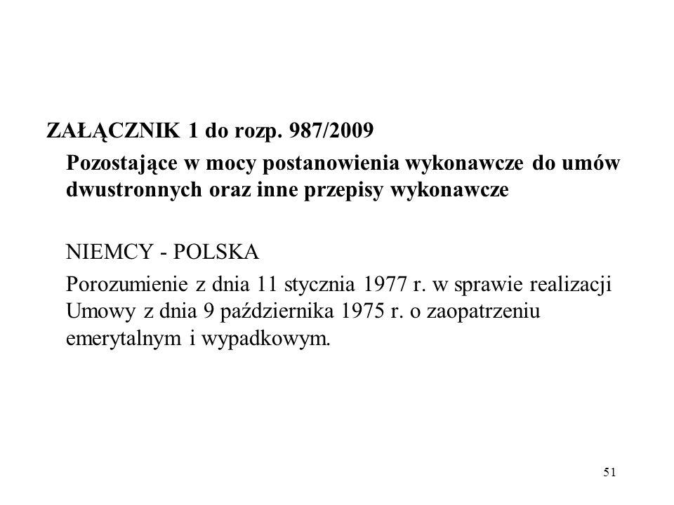 51 ZAŁĄCZNIK 1 do rozp. 987/2009 Pozostające w mocy postanowienia wykonawcze do umów dwustronnych oraz inne przepisy wykonawcze NIEMCY - POLSKA Porozu