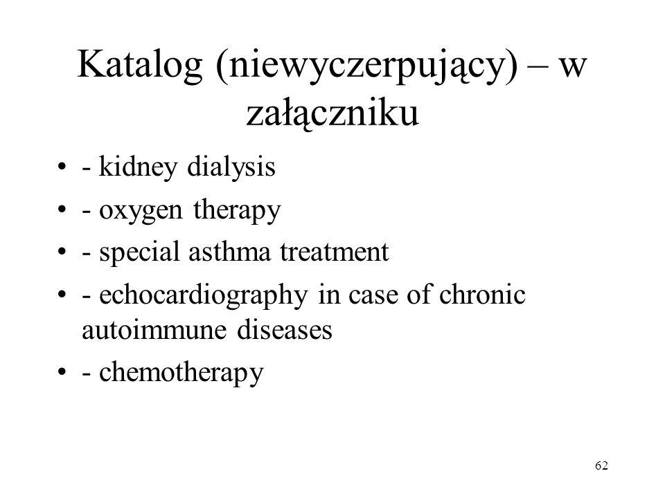 Katalog (niewyczerpujący) – w załączniku - kidney dialysis - oxygen therapy - special asthma treatment - echocardiography in case of chronic autoimmun